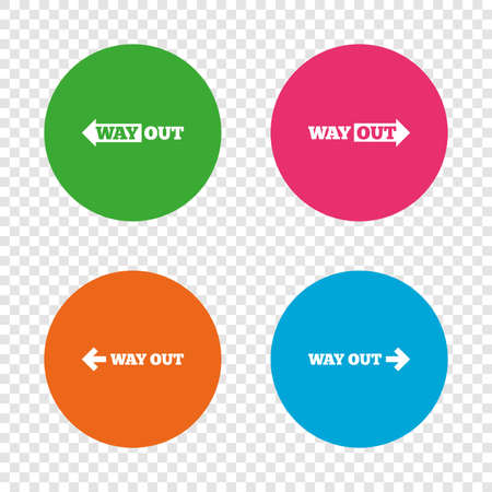 Way out icons. Left and right arrows symbols. Direction signs in the subway. Round buttons on transparent background. Vector