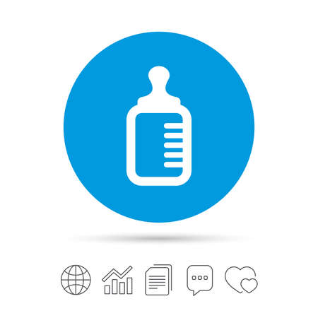 Baby milk bottle icon. Child food symbol. Copy files, chat speech bubble and chart web icons. Vector
