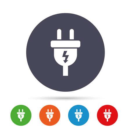 전기 플러그 기호 아이콘입니다. 전원 에너지 기호입니다. 번개 기호입니다. 플랫 아이콘으로 다채로운 단추 라운드. 벡터
