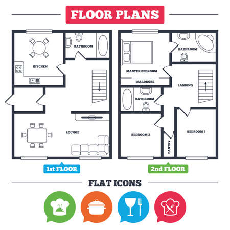 Architecture plan with furniture. House floor plan. Chief hat and cooking pan icons. Crosswise fork and knife signs. Boil or stew food symbols. Kitchen, lounge and bathroom. Vector Stock Vector - 79790200