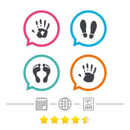Hand and foot print icons. Imprint shoes and barefoot symbols. Stop do not enter sign. Calendar, internet globe and report linear icons. Star vote ranking. Vector