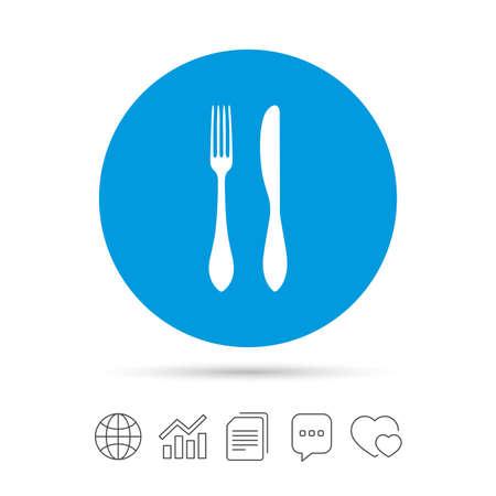 Mangez l'icône de signe. Symbole de la coutellerie. Couteau et une fourchette. Copier des fichiers, bulle de dialogue et des icônes web de graphique. Vecteur Banque d'images - 79790212