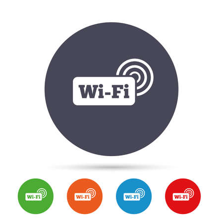 Free wifi sign. Wifi symbol. Wireless Network icon. Wifi zone. Round colourful buttons with flat icons. Vector Illustration