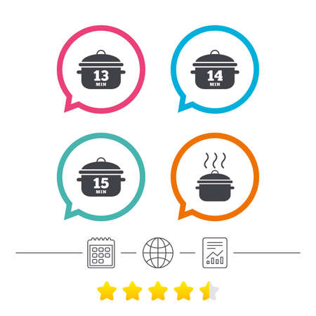 Cooking pan icons. Boil 13, 14 and 15 minutes signs. Stew food symbol. Calendar, internet globe and report linear icons. Star vote ranking. Vector