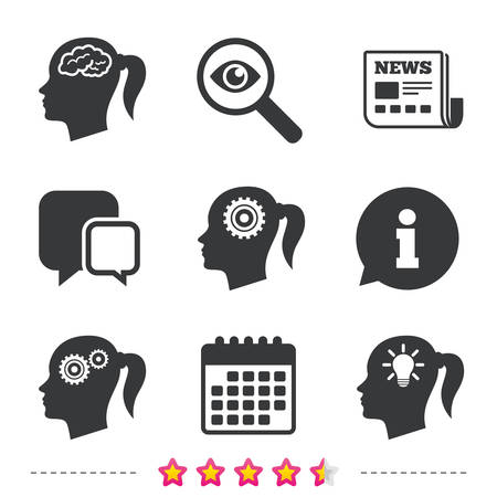 Head with brain and idea lamp bulb icons. Female woman think symbols. Cogwheel gears signs. Newspaper, information and calendar icons. Investigate magnifier, chat symbol. Vector Иллюстрация