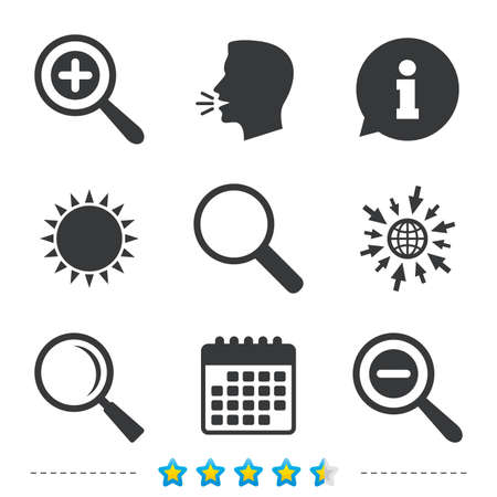 Magnifier glass icons. Plus and minus zoom tool symbols. Search information signs. Information, go to web and calendar icons. Sun and loud speak symbol. Vector 向量圖像