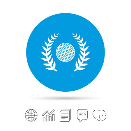Golf ball sign icon. Sport laurel wreath symbol. Winner award cup. Copy files, chat speech bubble and chart web icons. Vector