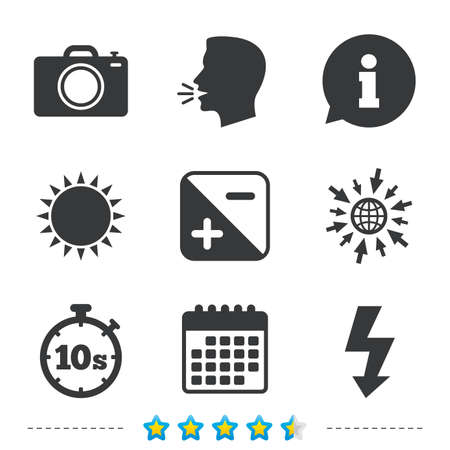 luminance: Photo camera icon. Flash light and exposure symbols. Stopwatch timer 10 seconds sign. Information, go to web and calendar icons. Sun and loud speak symbol. Vector
