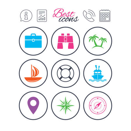 compass rose: Information, report and calendar signs. Cruise trip, ship and yacht icons. Travel, cocktails and palm trees signs. Sunglasses, windrose and swimming symbols. Phone call symbol. Vector