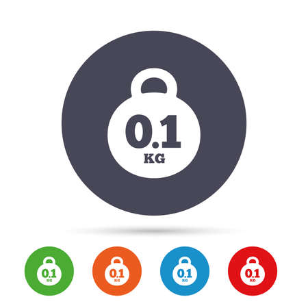 Weight sign icon. 0.1 kilogram (kg). Envelope mail weight. Round colourful buttons with flat icons. Vector Illustration