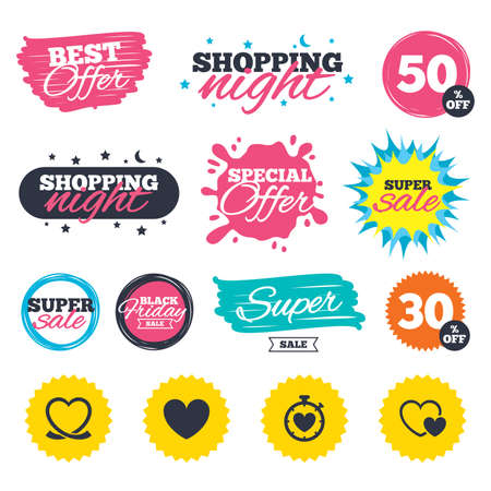 Sale shopping banners. Special offer splash. Heart ribbon icon. Timer stopwatch symbol. Love and Heartbeat palpitation signs. Web badges and stickers. Best offer. Vector Çizim