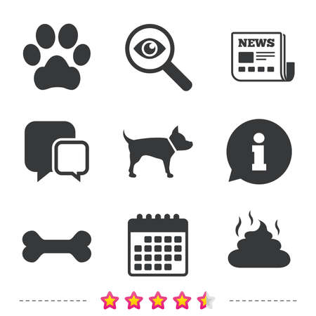 Pets icons. Dog paw and feces signs. Clean up after pets. Pets food. Newspaper, information and calendar icons. Investigate magnifier, chat symbol. Vector