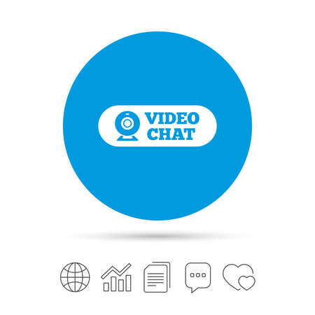 Video chat sign icon. Webcam video conversation symbol. Website webcam talk. Copy files, chat speech bubble and chart web icons. Vector