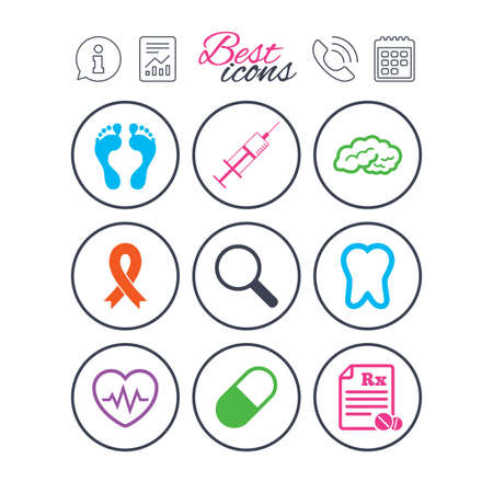 Information, report and calendar signs. Medicine, medical health and diagnosis icons. Syringe injection, heartbeat and pills signs. Tooth, neurology symbols. Phone call symbol. Vector