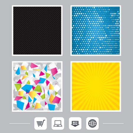 炭素繊維のテクスチャです。黄色のフレアと抽象的な背景。オンライン ショッピングのアイコン。ノート pc、ショッピングカート、今矢印とインタ  イラスト・ベクター素材