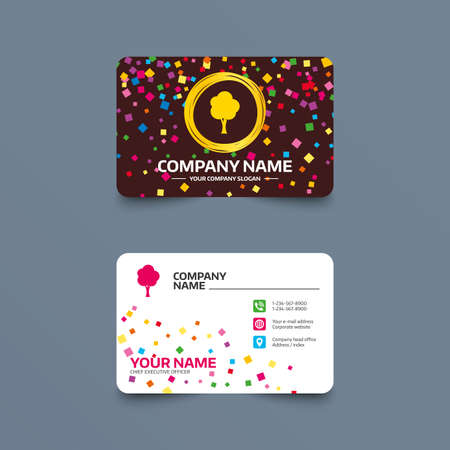Business card template with confetti pieces. Tree sign icon. Forest symbol. Phone, web and location icons. Visiting card  Vector