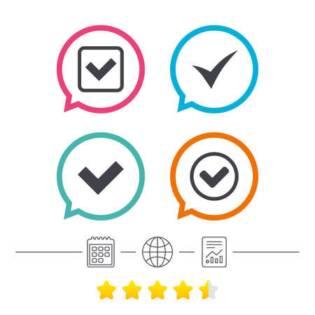 Check icons. Checkbox confirm circle sign symbols. Calendar, internet globe and report linear icons. Star vote ranking. Vector Illustration