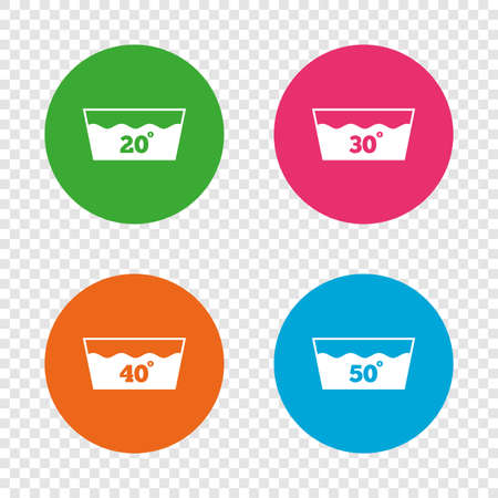 Wash icons. Machine washable at 20, 30, 40 and 50 degrees symbols. Laundry washhouse signs. Round buttons on transparent background. Vector Ilustração