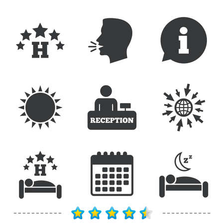 Five stars hotel icons. Travel rest place symbols. Human sleep in bed sign. Hotel check-in registration or reception. Information, go to web and calendar icons. Sun and loud speak symbol. Vector 版權商用圖片 - 79790565