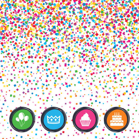 Web buttons on background of confetti. Birthday crown party icons. Cake and cupcake signs. Air balloons with rope symbol. Bright stylish design. Vector