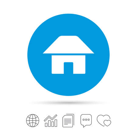 Home sign icon. Main page button. Navigation symbol. Copy files, chat speech bubble and chart web icons. Vector Иллюстрация
