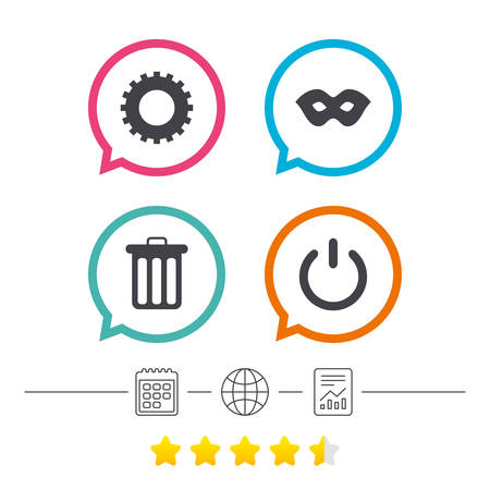 energy ranking: Anonymous mask and cogwheel gear icons. Recycle bin delete and power sign symbols. Calendar, internet globe and report linear icons. Star vote ranking. Vector Illustration