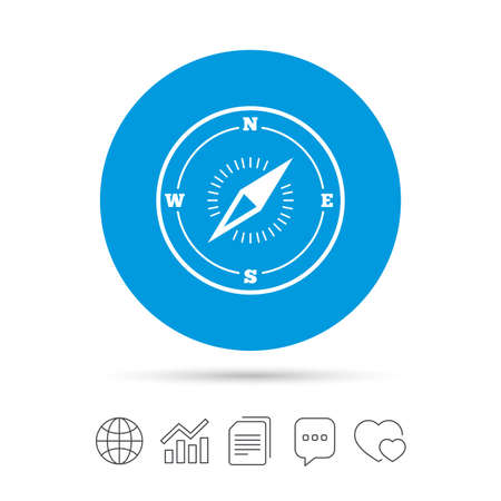 compass rose: Compass sign icon. Windrose navigation symbol. Copy files, chat speech bubble and chart web icons. Vector