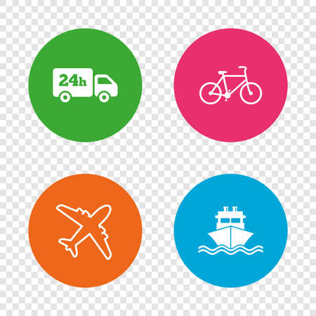 Cargo truck and shipping icons. Shipping and eco bicycle delivery signs. Transport symbols. 24h service. Round buttons on transparent background. Vector Illustration