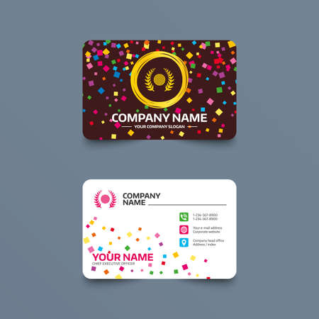 Business card template with confetti pieces. Golf ball sign icon. Sport laurel wreath symbol. Winner award cup. Phone, web and location icons. Visiting card  Vector