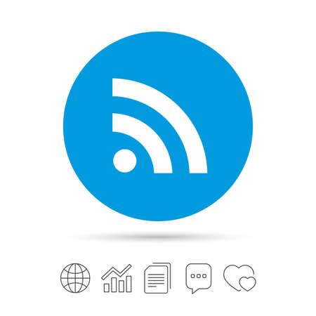 RSS は記号アイコンです。シンボルの RSS フィード。ファイルのコピー、音声バブルとグラフ web アイコンをチャットします。ベクトル