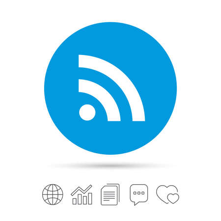 RSS sign icon. RSS feed symbol. Copy files, chat speech bubble and chart web icons. Vector Çizim