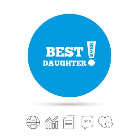 Meilleure fille icône de signe jamais. Symbole de récompense. Point d'exclamation. Copier des fichiers, une bulle de dialogue et des icônes web graphique. Vecteur Banque d'images - 79790644