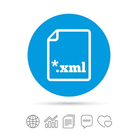 ファイルのドキュメント アイコン。XML ボタンをダウンロードします。XML ファイルの拡張子のシンボル。ファイルのコピー、音声バブルとグラフ web   イラスト・ベクター素材