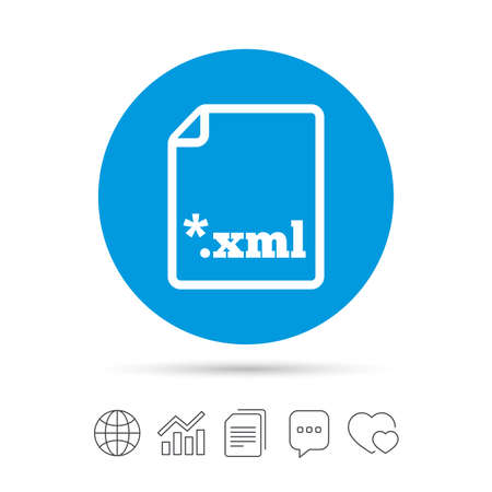 File document icon. Download XML button. XML file extension symbol. Copy files, chat speech bubble and chart web icons. Vector Illustration