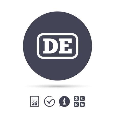 Duitse taal teken pictogram. DE Deutschland-vertaalsymbool met kader. Rapporteer document, informatie en vink pictogrammen aan. Wisselkantoor. Vector