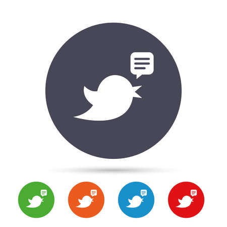 Bird icon. Social media sign. Speech bubble chat symbol. Round colourful buttons with flat icons. Vector Ilustrace
