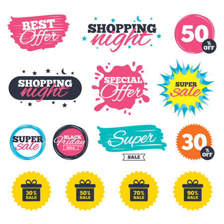 Sale shopping banners. Special offer splash. Sale gift box tag icons. Discount special offer symbols. 30%, 50%, 70% and 90% percent sale signs. Web badges and stickers. Best offer. Vector Illustration