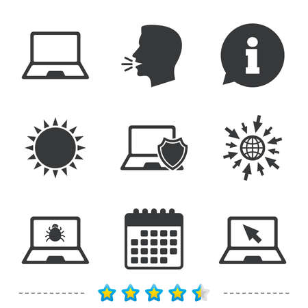 anti noise: Notebook laptop pc icons. Virus or software bug signs. Shield protection symbol. Mouse cursor pointer. Information, go to web and calendar icons. Sun and loud speak symbol. Vector