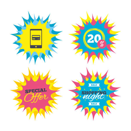 Shopping offers, special offer banners. Mobile payments icon. Smartphone with credit card symbol. Discount star label. Vector
