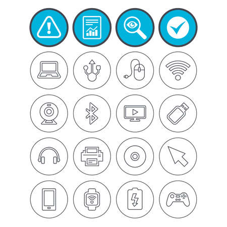 Report, check tick and attention signs. Computer elements icons. Notebook, usb port and smartphone. Printer, smart watch and game console joystick. Bluetooth, flash stick and cursor pointer. Vector
