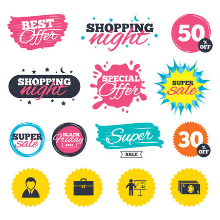 Sale shopping banners. Special offer splash. Businessman icons. Human silhouette and cash money signs. Case and presentation with chart symbols. Web badges and stickers. Best offer. Vector