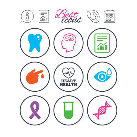 情報、報告書、カレンダーのサイン。医学、医療健康診断アイコン。血液検査、dna と神経兆候。歯、レポート シンボル。電話記号です。古典的なシ  イラスト・ベクター素材