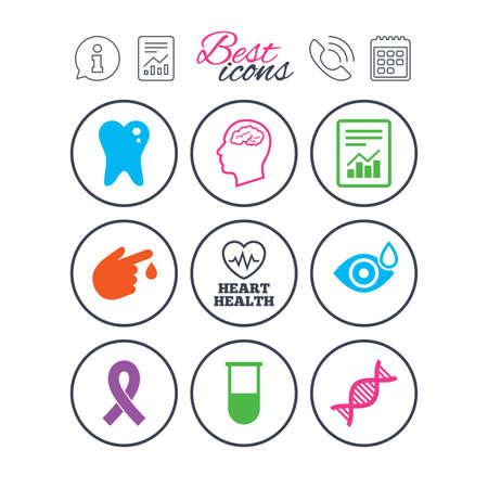정보,보고 및 달력 표지판. 의학, 의료 건강 및 진단 아이콘입니다. 혈액 검사, dna 및 신경 징후. 치아, 기호를보고해라. 전화 기호입니다. 클래식 간단