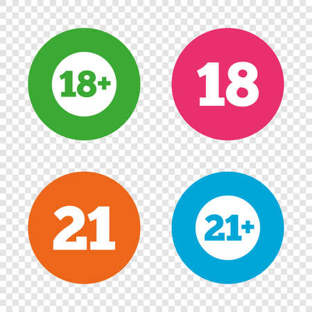 Adult content icons. Eighteen and twenty-one plus years sign symbols. Round buttons on transparent background. Vector. Çizim