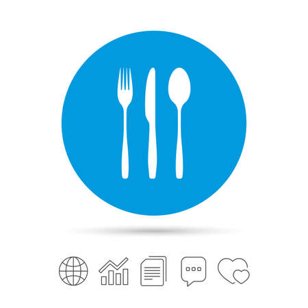 Fork, knife, tablespoon sign icon. Cutlery collection set symbol. Copy files, chat speech bubble and chart web icons. Vector