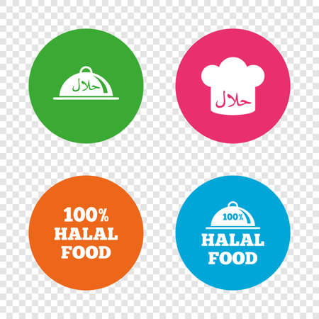 Halal food icons. 100% natural meal symbols. Chef hat sign. Natural muslims food. Round buttons on transparent background. Vector