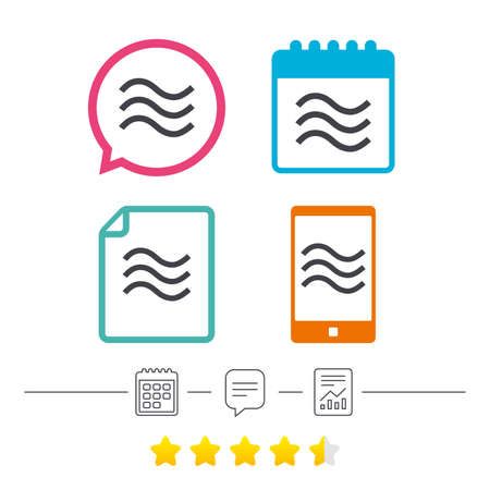 Water waves sign icon. Flood symbol. Calendar, chat speech bubble and report linear icons. Star vote ranking. Vector.