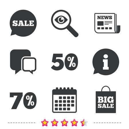 Sale speech bubble icon. 50% and 70% percent discount symbols. Big sale shopping bag sign. Newspaper, information and calendar icons. Investigate magnifier, chat symbol. Vector.