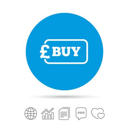 記号のアイコンを購入します。オンライン購入ポンド gbp ボタン。ファイルのコピー、音声バブルとグラフ web アイコンをチャットします。ベクトル