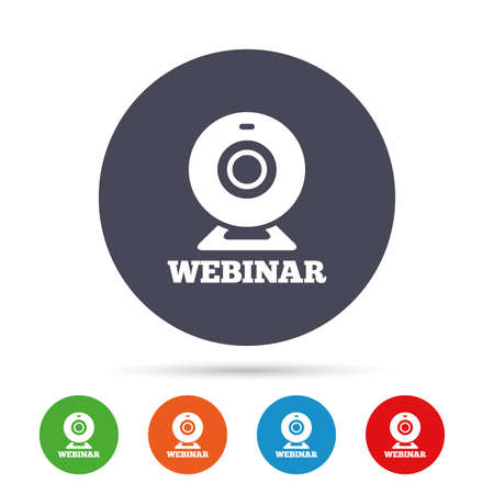 Webinar web camera sign icon. Online Web study symbol. Website e-learning navigation. Round colourful buttons with flat icons. Vector Illustration